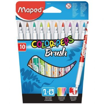 MAPED BRUSH FIBRE TIP FELT TIP PENS COLOR'PEPS BRUSHPENS (ASSORTED WALLET OF 10)